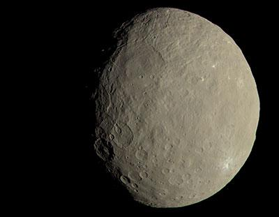 Approximate true-colour image of the dwarf-planet Ceres taken by NASA spacecraft Dawn