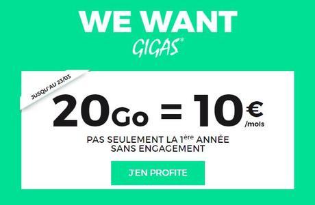 RED by SFR : retour du forfait 4G 20 Go à 10€/mois à vie !