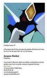 Visites d'ateliers PARIS 6me   Atelier Jacques BORKER 24/25/26 Mars 2017