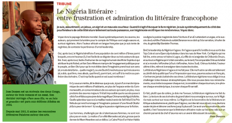 Le Nigéria littéraire : entre frustration et admiration du littéraire francophone