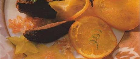Fondant de chocolat aux ships d'orange et au granité