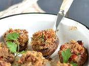 Champignons farcis {quinoa, tomates séchées olives noires}
