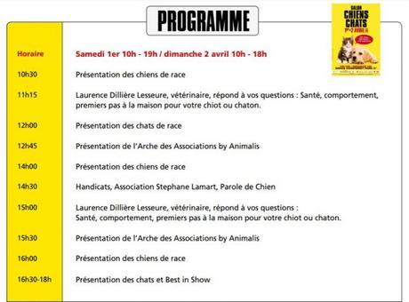 Programme salon chiens chats Paris