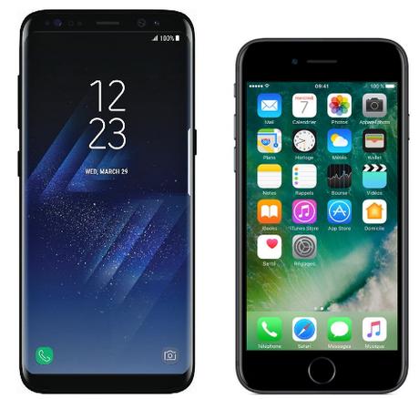 Comparatif Samsung Galaxy S8 vs iPhone 7