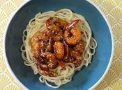 cuisine dimanche Crevettes marinées miel pâtes Udon Nagasaki