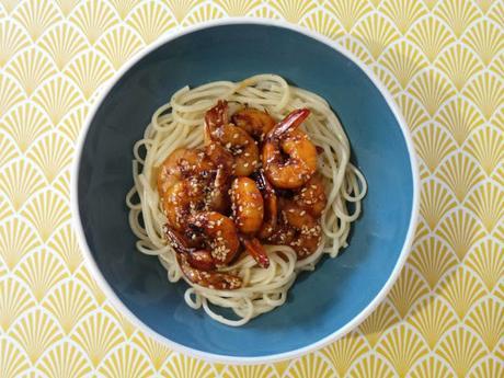 Recette cuisine asiatique crevettes marinées pâtes Udon de Nagasaki vagues de perle