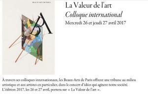 E N S B A   Colloque International  « La valeur de l 'art »  26/27 Avril 2017 aux Beaux-Arts de Paris