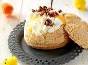 Choux croustillants :compotée kumquats, lemon curd,chantilly pignons caramélisés