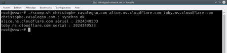 How to check if a dns zone is synchronized between 2 dns servers