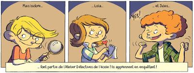Lola, Isidore et Jules les membres de l'Atelier Détectives