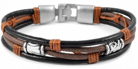 Bracelet homme triple brut en cuir