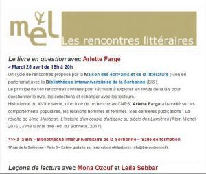 M E L « Les rencontres littéraires » 25/26 Avril 2017