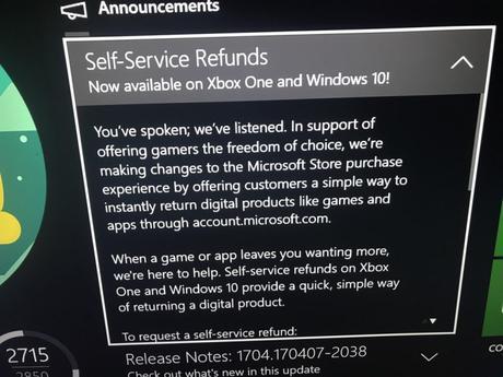 Xbox One – Le remboursement des jeux numériques à l'étude