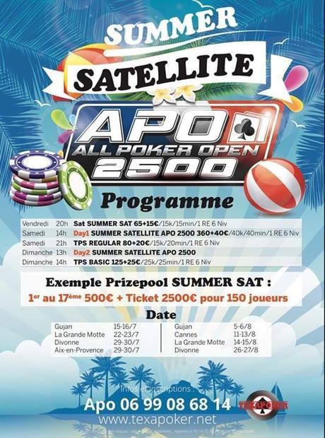 APO 2500 : le tournoi de poker événement à la Grande Motte en septembre 2017