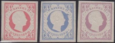 Louis II dans la philatélie : essais de coloris pour le 3 Kreuzer jamais mis en circulation