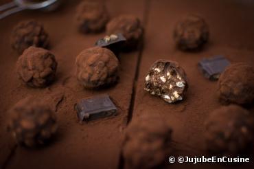 Recette bio : Rochers au  chocolat noir bio citron gingembre Bonneterre  et riz soufflé