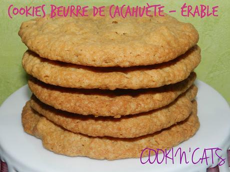 COOKIES BEURRE DE CACAHUETE - ERABLE sans lait, sans gluten