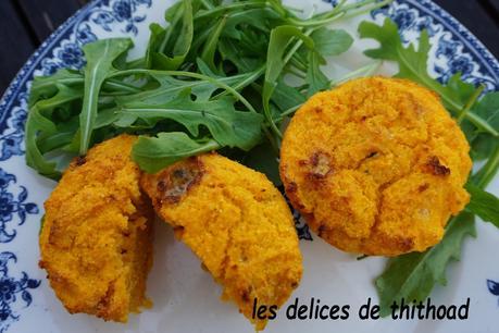 flans de polenta à la carotte et au roquefort