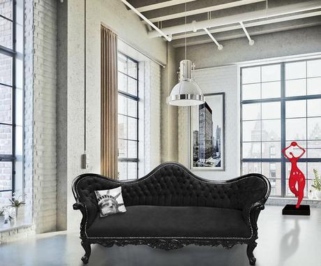 canapé de style Napoléon III Royal Art Palace au cœur d'un loft New Yorkais