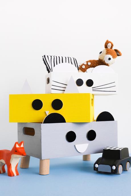 Découvrez notre DIY Boîte de rangement pour kid réalisé pour A Little Mercerie. Des petites boîtes tendances aux visages d'animaux.