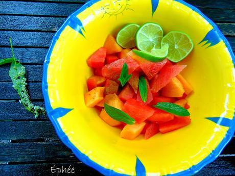 Salade de pastèque et cantaloup