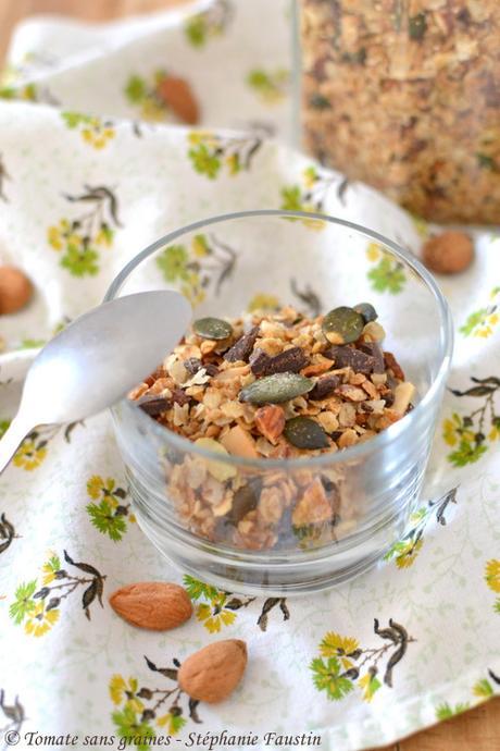 Granola sans gluten {amandes, chocolat et graines de courge}