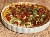 Tarte courgettes, tomates, lardons mousse chèvre