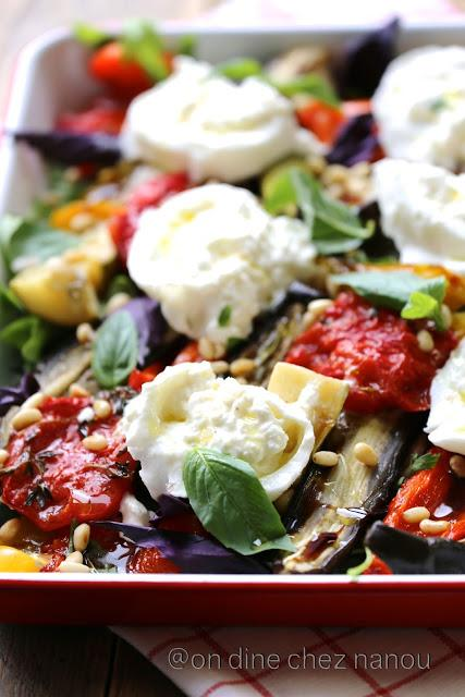 Légumes d'été au four , burrata