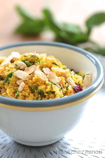 Taboulé de chou fleur orangé au curry et fruits secs