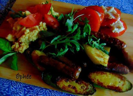 Polenta, légumes et saucisses