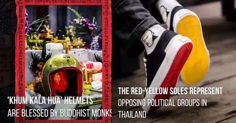 Thaïlande shopping insolite, casques sacrés et baskets pour marcher ensemble, jaunes et rouges