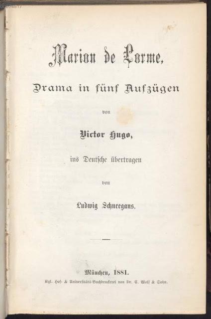 Marion de Lorme de Victor Hugo, la traduction allemande de 1881.