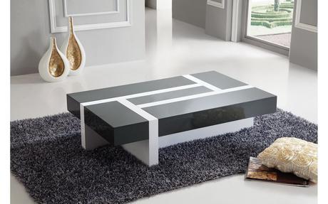 table de salon gris et blanc grande table basse blanche paperblog. Black Bedroom Furniture Sets. Home Design Ideas