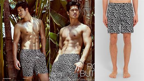 SEXY : Ross Butler in Onia swim shorts