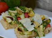 Tartines courgettes, tomates, parmesan, basilic, balsamique