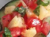 Avocat chaud salade tomate, ananas basilic