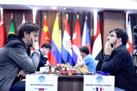Maxime Vachier-Lagrave a annulé dans la première partie du 4ème tour face au Russe Alexander Grischuk - Photo © Anastasia Karlovich