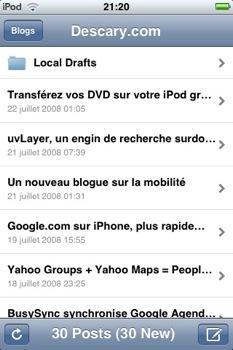 wordpress-iphone-1 Wordpress pour l'iPhone intéressant, mais incomplet