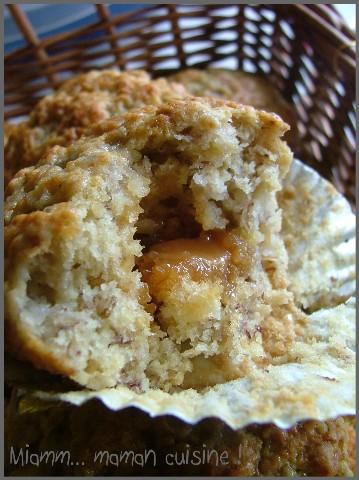 Muffins moelleux à la banane & coeur fondant de caramel
