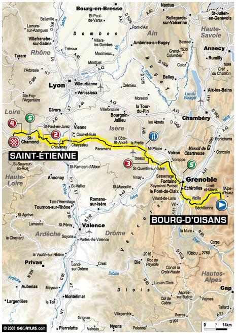 Tour de France : 18e étape Bourg d'Oisans - Saint Étienne (parcours)
