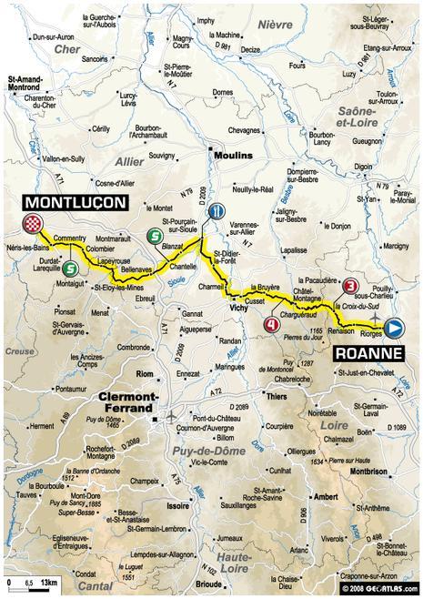 Tour de France : 19ème étape Roanne - Montluçon (parcours)
