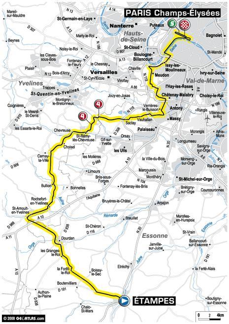 Tour de France : 21ème étape Étampes - Paris Champs Élysées (parcours)