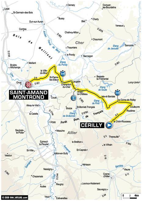 Tour de France : 20ème étape Cérilly - Saint Amand Montrond (parcours)