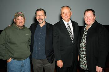 Larry cable guy,John lasseter and ed Catmull