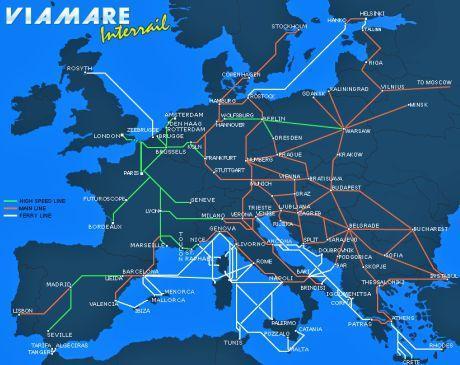 Carte des lignes ferroviaires Interail