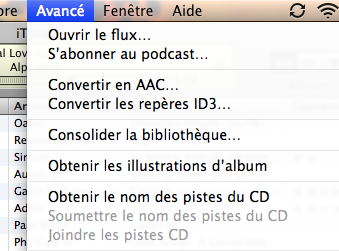 Menu iTunes Alt