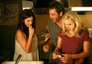 Penelope Cruz , Javier Bardem and Scarlett Johansson in The Weinstein Company's Vicky Cristina Barcelona