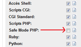 PHP SafeMode OFF