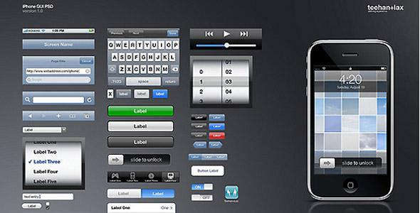 iphone  Interface de liPhone en PSD