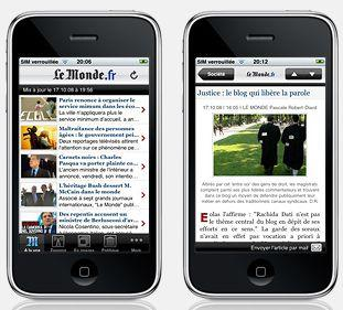Application lemonde.fr sur iphone